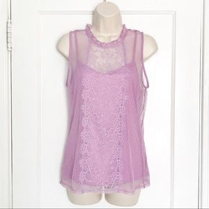 🌹Express Lavender Lace Sleeveless Overlay Top